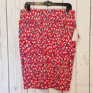 Lularoe Pink Geo Print Cassie Pencil Skirt NWT L